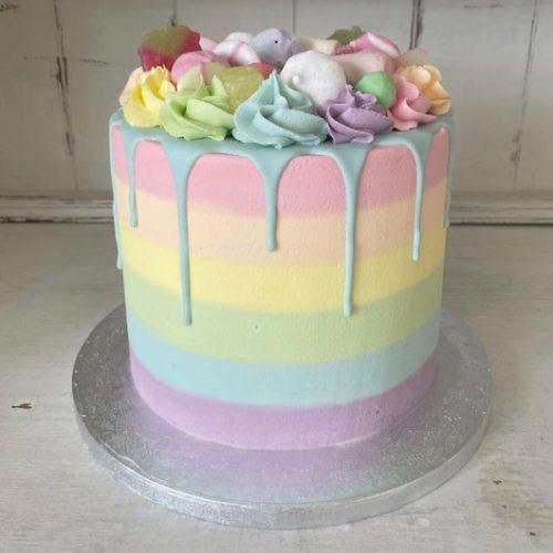 Image of Pastel Rainbow Drip Cake
