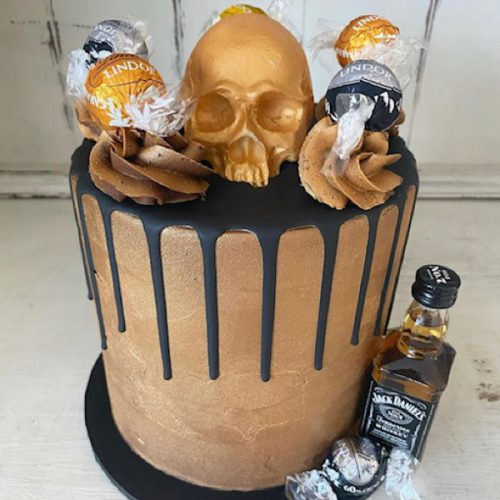 Image of Metallic Skull Drip Cake